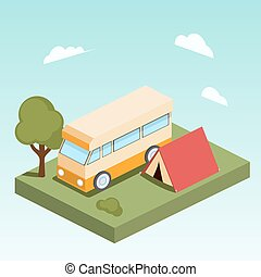 Camping motor home isometric vector - Camping motor home...