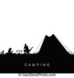 camping, nature, à, homme, et, enfant, illustration, dans, noir, couleur