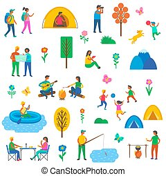 Camping Nature Set of Icons Vector Illustration