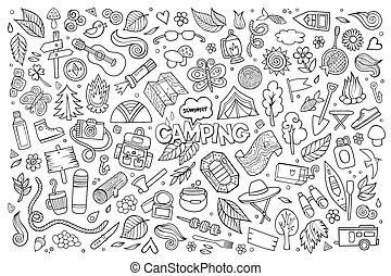 Camping nature symbols and objects - Camping nature hand ...