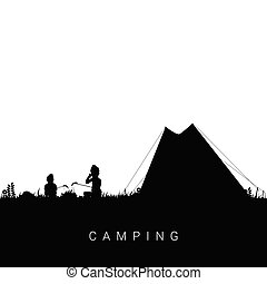 camping nature with children silhouette illustration in black color