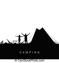 camping nature with couple silhouette illustration in black color