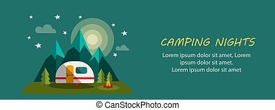 Camping Nights Banner with Moon, Trees, Fire and Stars