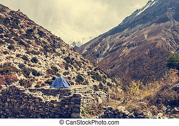 Camping on a deserted ruins in the mountains.