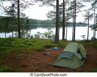 camping on canoe trip in Sweden.