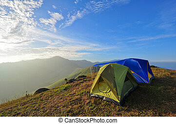 camping on mountain