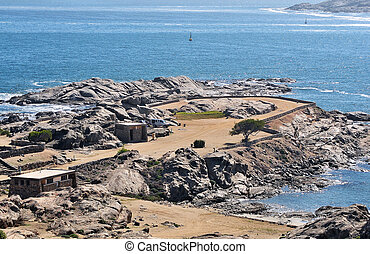View of the camp site on Shark Island, Luderitz