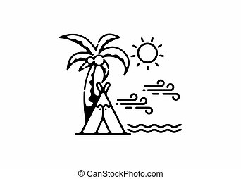 Camping on the beach line art illustration