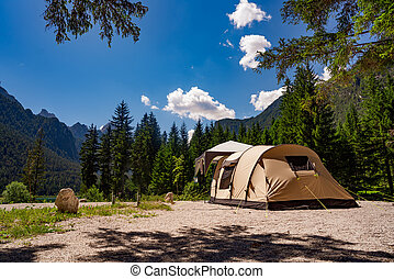 Camping on the shores of lake