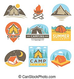 Camping Outdoor Adventures Logotypes Emblems Set