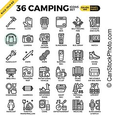 Camping outline icons modern style for website or print...