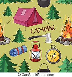 Camping pattern with equipment symbols
