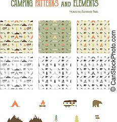 Camping patterns and hiking elements set - tent, bear, bonfire, van trailer, mountains. Travel seamless wallpaper design. Equipment for camping symbols. Use as Adventure pattern in web projects, print