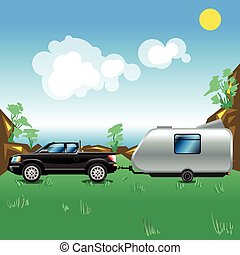 Camping pickup trailer on a meadow