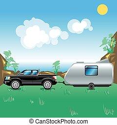 Camping pickup trailer seaside view
