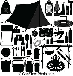 A set of camping and picnic tool and equipment.