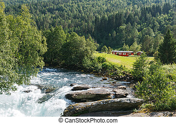 Camping place near the mountain river, Norway