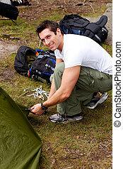 camping, porträt