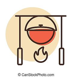 Camping pot over a bonfire vector icon