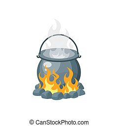 Camping pot over the bonfire, vector in flat style
