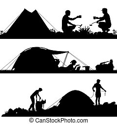 camping, premier plan, silhouettes