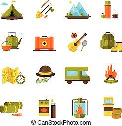 camping, randonnée, aventure, plat, icônes, ensemble