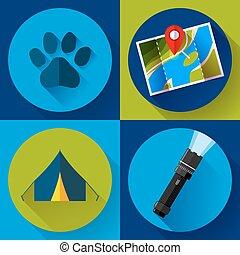 camping, randonnée, icônes, ensemble, plat, conception, style, vecteur