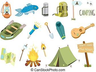 camping, randonnée, icônes, ensemble