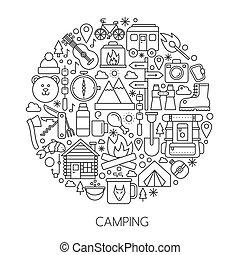 camping, randonnée, outils équipement, infographic, dans, cercle, -, concept, ligne, vecteur, illustration, pour, couverture, emblème, badge., contour, icônes, set.