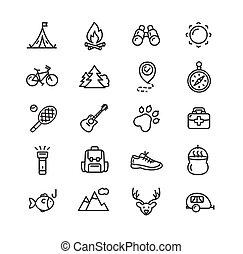 camping, randonnée, set., vecteur, tourisme, icône