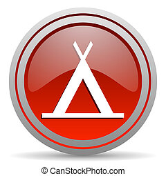 camping red glossy icon on white background
