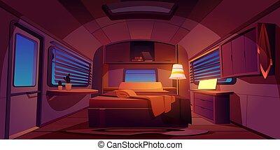 Camping rv trailer car interior with bed at night