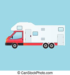 Camping RV trailer family caravan
