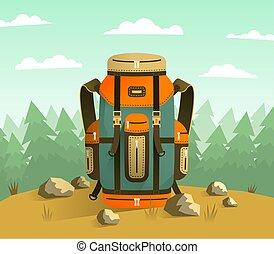 camping, sac à dos, fond, forêt