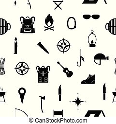 camping seamless pattern background icon.