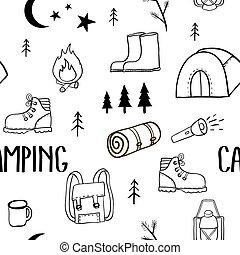 Camping seamless pattern. Travel kit collection. Equipment ...
