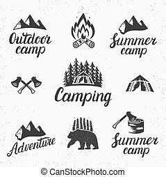 Camping set logo emblem.