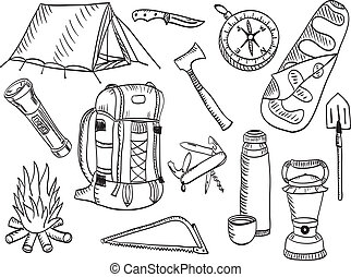 Set of camping and outdoor equimpment - sketch style