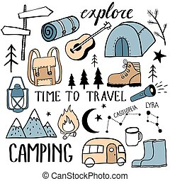 Camping set. Travel kit collection. Equipment for outdor ...