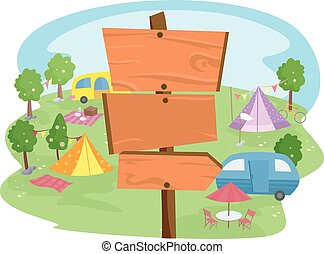 Camping Site Arrows - Illustration of Wooden Signs Inside a...