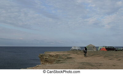 Camping site on cliff by sea - Summer travel destination -...