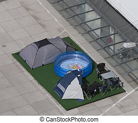 Camping site on parking place