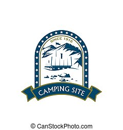 Camping site vector sport mountain hiking icon