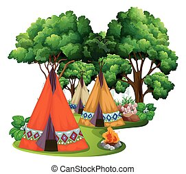 Camping site with teepees and campfire