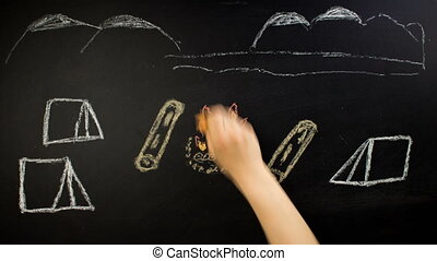 Camping. Sketch of the campground on chalk blackboard -...