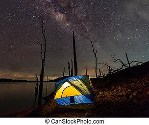 camping, sous, les, clair, voie lactée