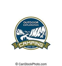 Camping sport exploration mountain vector icon