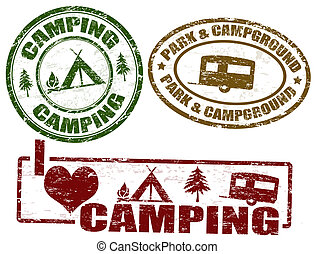 Set of camping grunge stamps, vector illustration