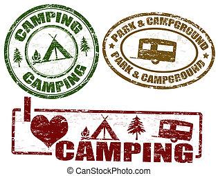 Set of camping grunge stamps, vector illustration