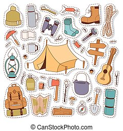 Camping stickers in hand drawn style vector. - Set of...